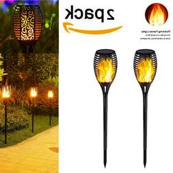 2x Solar Power Torch LED Lights Flickering Flame Garden Path