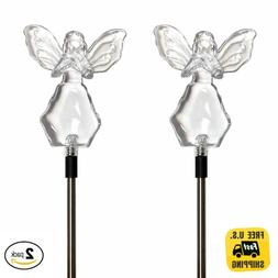 2X Solar Powered Angel with Star Landscape Garden Stake Colo