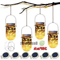 3/6pack Solar 20 LED Mason Jar String Light Lid Insert Garde
