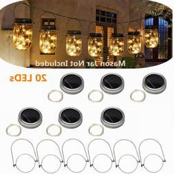 3/6pcs Solar 20 LED Mason Jar String Light Lid Insert Garden