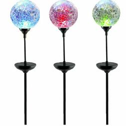Moonrays 3 LED Solar Path Lights Glass Ball Design With Colo