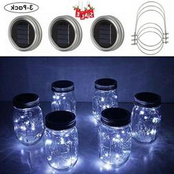 3-Pack Mason Jar Lights 20 LED Solar Fairy String Lamp Lids