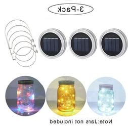3 Pack Solar Mason Jar Lid Insert LED Mason Jar Solar Light