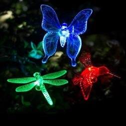 3Pcs Solar Stake Lights Color Changing LED Outdoor Garden De