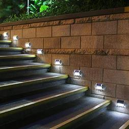 HKYH Newest 8 Pack 3 LED Solar Bright Step Light Stairs Pat