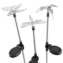 3 Solar Lights Butterfly Hummingbird Dragonfly 30 Inches Hig