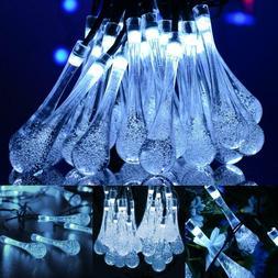 30 LED Solar String Lights Crystal Balls Outdoor Party Weddi