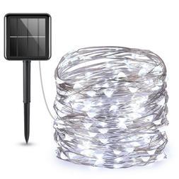 33ft Waterproof 100&LED Solar Copper Fairy String Strip Ligh