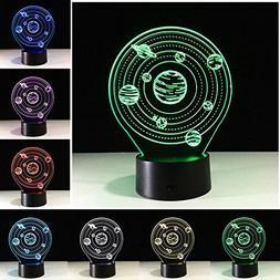 7 Color 3D LED Light Lamp Desk Planet Solar System Night Lig