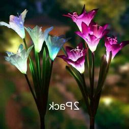 2PC USA Solar Lily Flower LED Lights For Garden Patio Backya