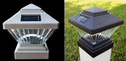2/4/8/12pc Black/White Solar Post Deck Cap Fence LED Light F