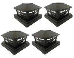 "4 Pack 4"" 5"" 6"" SMD LEDs Solar Black Finish Post Deck Fence"