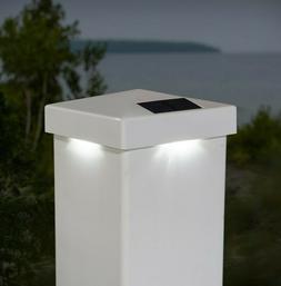 4 PACK 5x5 WHITE PVC PYRAMID SOLAR POST CAP LIGHTS FOR PVC V