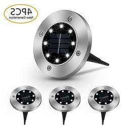 4 Pack 8-LED Solar Powered In-ground Outdoor Pathway Disk Li
