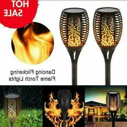 4 Pack LED Solar Torch Light Dancing Flame Flickering Lamp W