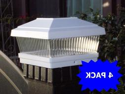 "4 Pack LED White 5""X5"" Solar Powered Post Deck Cap Square Fe"