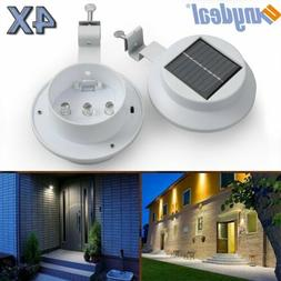 4 Pack Solar Power 3 LED Wall Light Security Weatherproof Ou