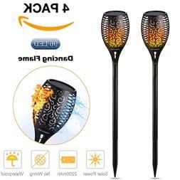 4 Pack Solar Torch Lights 96 LED Flickering Lighting Dancing