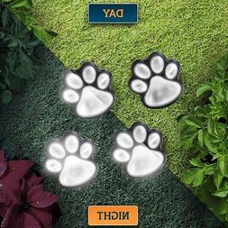4 solar paw print lights dog path