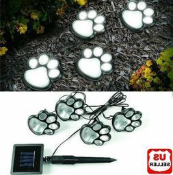 4 Solar Paw Print Lights Dog Path LED Cute Lawn Garden Patio