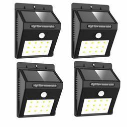 4 SOLAR POWER PIR MOTION SENSOR WALL LIGHTS 8 LED OUTDOOR WA