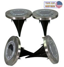 4 Solar Powered 8 LED Disc Path Lawn Lights W/ Diffusure Len