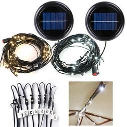 40 LED Solar String Light Fit 8-Rib 8ft 9ft Wooden Outdoor P