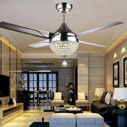 """44"""" Invisible Crystal Ceiling Fan LED Light Dining Room Chan"""