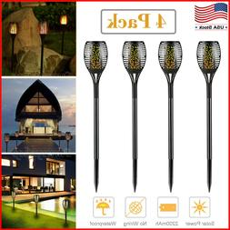4Pack 96 LED Solar Tiki Torch Light Dancing Flickering Flame