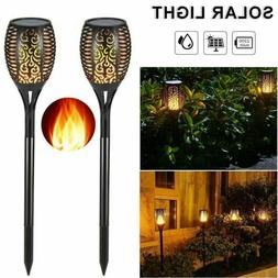 LED Solar Torch Light Flickering Dancing Flame Garden Waterp