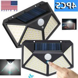 4PCS 100 LED Solar Powered Light PIR Motion Sensor Outdoor G