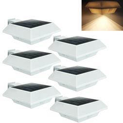4pcs 12 LEDs Solar Post Lights Spotlights Gutter Gate Lamp W