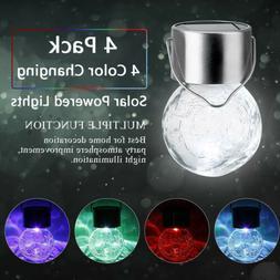 4Pcs Hanging Solar Lights White LED Crackle Globe Lanterns O
