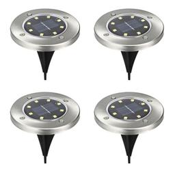 4PCS LED Solar In-ground Lights Outdoor 3000K Landscape Path