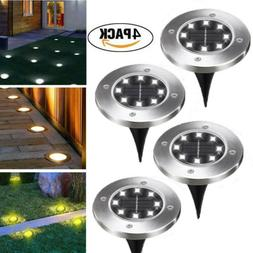 4PCS Solar Power Ground Lights Floor Patio Outdoor Garden La