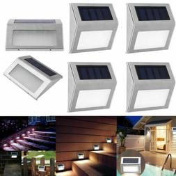 4Pcs Solar Power LED Deck Lights Outdoor Pathway Garden Stai
