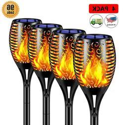 4pcs Solar Torch Lights Outdoor/Waterproof, 96 LED, Vivid Fl
