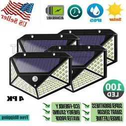 4X 100 LED Solar Power Light PIR Motion Sensor Security Gard