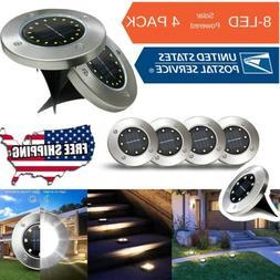 4x 8LED Outdoor Waterproof Solar Disk Lights Ground Flat Gar