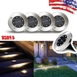 4x 8LED Solar Disk Lights Ground Buried Garden Lawn Deck Pat