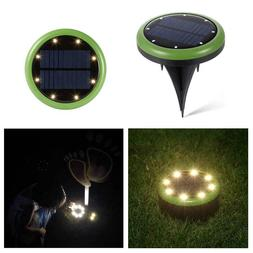 4x 8led solar disk lights ground flat