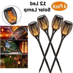 4X LED Solar Torch Dance Flickering Flame Light Garden Yard