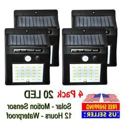 4x Outdoor 20LED Solar Wall Lights Power PIR Motion Sensor G