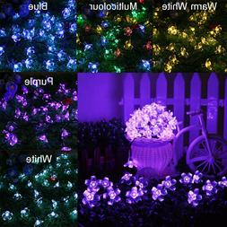 50 LED Solar Blossom Flower Fairy String Strip Light 23ft Ga