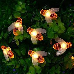 50 LEDs Solar String Lights Honey Bee Shape Solar Powered Ga