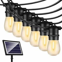 50FT Solar String Lights Outdoor Shatterproof Vintage Edison