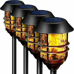 """55"""" Tall Solar Torches Lights 4 Pack with Flicking Flame 100"""
