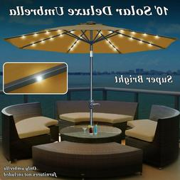 6/9/10' Patio Umbrella Solar LED Lighted Market Alu. Tilt Cr
