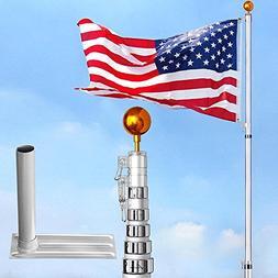 6-section 30 ft Aluminum Rustproof Telescopic Flag Pole Kit
