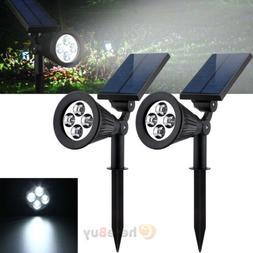 2x Solar 4 LED Garden Lamp Spot Light Outdoor Lawn Landscape
